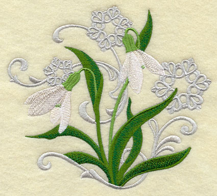 Snowdrop flower and snowflake echoes machine embroidery design.
