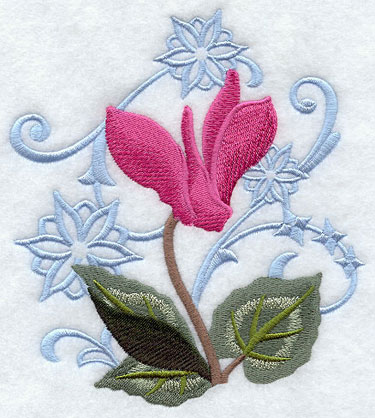 Cyclamen flower and snowflakes machine embroidery design.