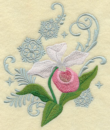 Lady slipper and snow flake echoes machine embroidery design.