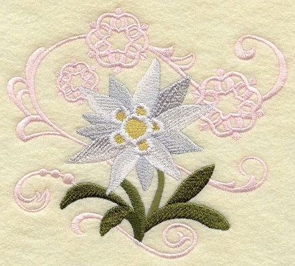 Edelweiss and snowflakes machine embroidery design.