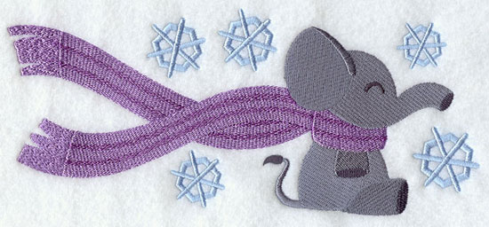 Elephant wrapped up in winter scarf machine embroidery design.