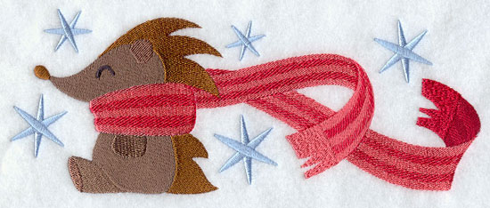 Hedgehog wrapped up in winter scarf machine embroidery design.