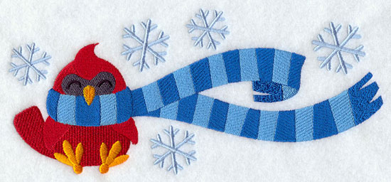 Cardinal wrapped up in winter scarf machine embroidery design.