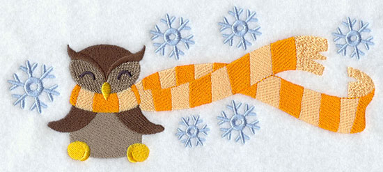 Owl wrapped up in winter scarf machine embroidery design.