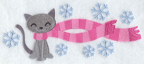 Cat wrapped up in winter scarf machine embroidery design.