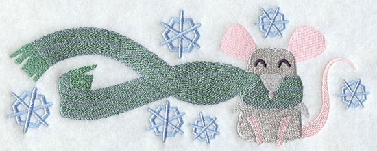 Mouse wrapped up in winter scarf machine embroidery design.