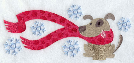 Dog wrapped up in winter scarf machine embroidery design.