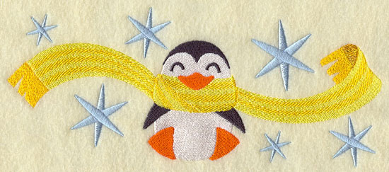 Penguin wrapped up in winter scarf machine embroidery design.