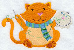 Crafty critters embroidering cat machine embroidery design.