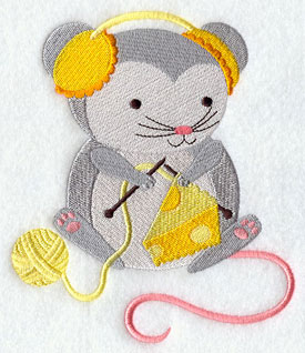 Crafty critters knitting mouse machine embroidery design.