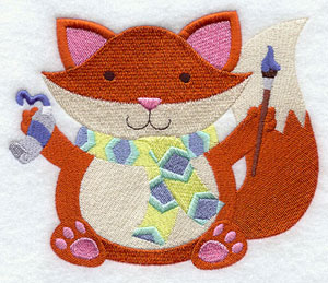 Crafty critters painting fox machine embroidery design.