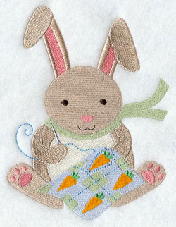 Crafty critters quilting bunny rabbit machine embroidery design.