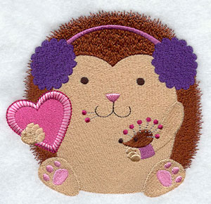 Crafty critters hedgehog with pincushion machine embroidery design.