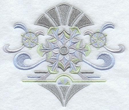 Shimmering metallic thread art deco snowflakes machine embroidery design.