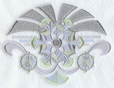 Shimmering metallic thread art deco snow flakes machine embroidery design.
