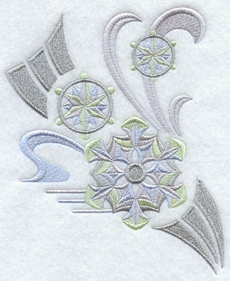 Art deco snowflake spray with metallic thread machine embroidery design.
