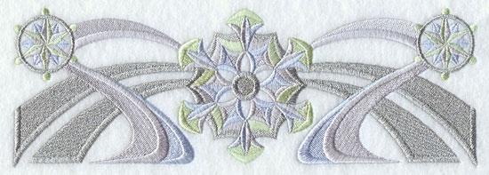Art deco snowflake border machine embroidery design.
