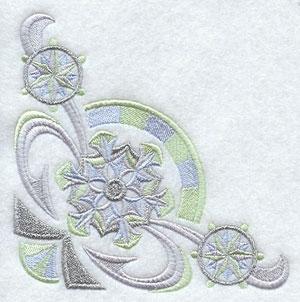 Art deco snowflake corner machine embroidery design.