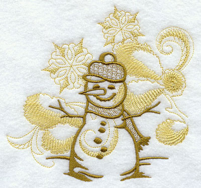 Snowman with snowflake echoes machine embroidery design.