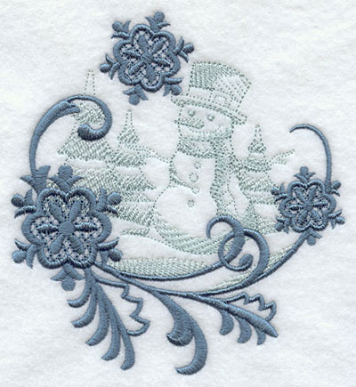 Snowflakes with snowman echo machine embroidery design.