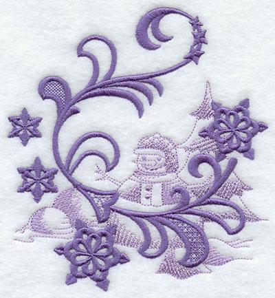 Snowflakes with snow man echo machine embroidery design.