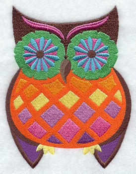 Groovy retro owl machine embroidery design.