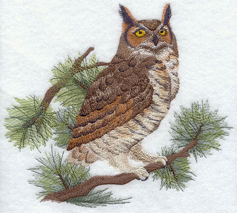 Great Horned Owl in pine tree machine embroidery design.