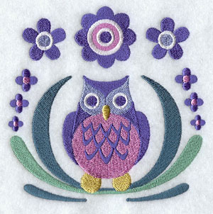 Whimsical owl and flowers machine embroidery design.