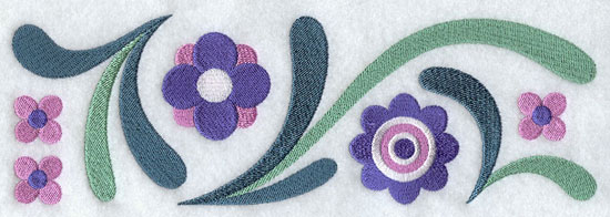 Flowers and filigree border machine embroidery design.