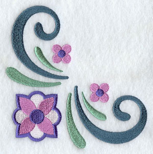 Flowers and filigree corner machine embroidery design.