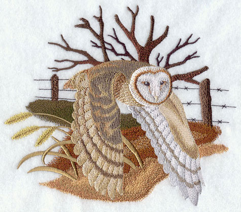 Barn Owl flying over field machine embroidery design.