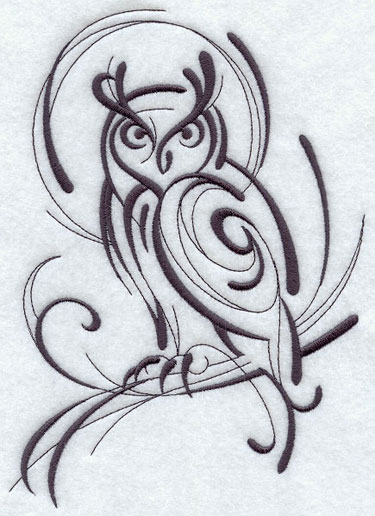 Calligraphy-style owl perching on branch machine embroidery design.