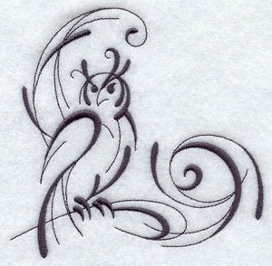 Intricate ink owl corner machine embroidery design.