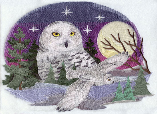 A snowy owl on a starlit night in the forest machine embroidery design.