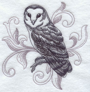A baroque Barn Owl machine embroidery design.