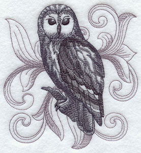A baroque Ural Owl machine embroidery design.