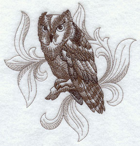 A baroque Screech Owl machine embroidery design.