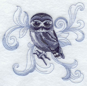 A baroque Saw-whet Owl machine embroidery design.