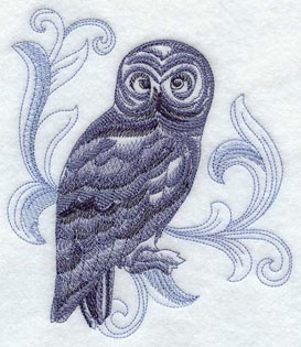 A baroque Great Grey Owl machine embroidery design.