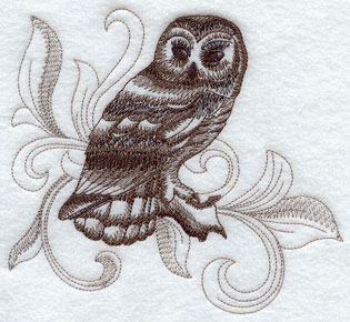 A baroque Barred Owl machine embroidery design.