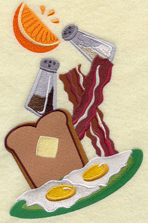 Breakfast toast, eggs, and bacon machine embroidery design.