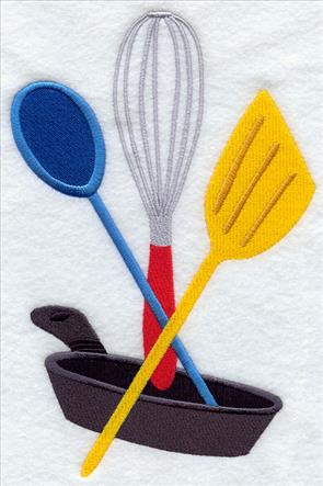 Kitchen spoon, whisk, spatula, and frying pan machine embroidery design.