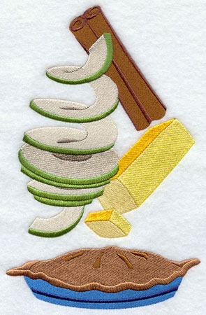Apple pie ingredients machine embroidery design.