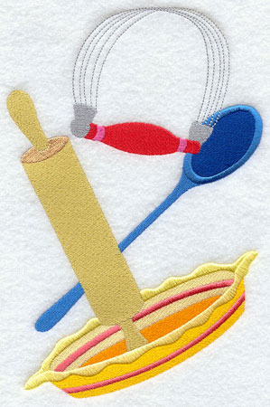 Pastry cutter, mixing spoon, rolling pin, and pie pan machine embroidery design.