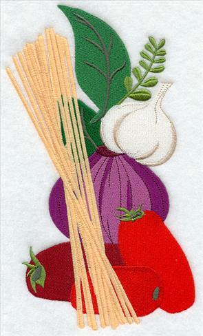 Stack of pasta, pepper, tomato, onion, and garlic machine embroidery design.