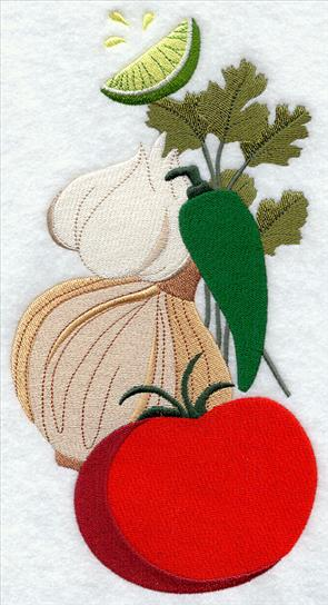 Stack of salsa--tomato, cilantro, pepper, and onion machine embroidery design.