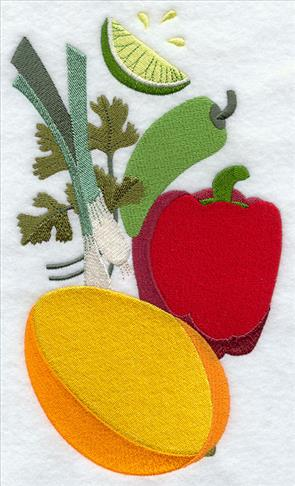 Stack of mango salsa--mango, tomato, cilantro, pepper, and onion machine embroidery design.