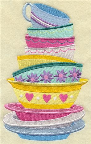 Stack of kitchen dishes and cups machine embroidery design.