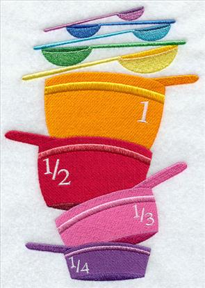 Measuring cups and spoons machine embroidery design.