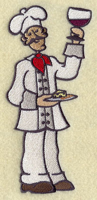 A master chef serves wine and cheese machine embroidery design.